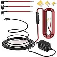 Dash Cam Hardwire Kit Mini USB câble rigide Kit chargeur de voiture câble 12V à 5V pour Dash appareils GPS (Mini-USB et jeu de fusibles)