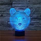 Cmhai 3D Bär Kopflampe Usb Led Tier Nachtlicht Baby Schlaf Beleuchtung Touch-Taste 7 Farbwechsel Lampara Home Decor Luminaria Geschenke