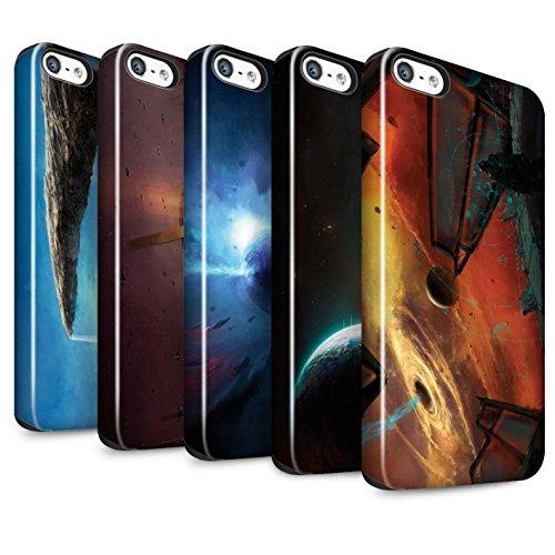 Offiziell Chris Cold Hülle / Glanz Harten Stoßfest Case für Apple iPhone 5/5S / Pack 6pcs Muster / Galaktische Welt Kollektion Pack 6pcs