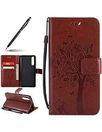 Uposao Handyhülle für Huawei P20 Lederhülle Klappbar Handytasche Flip Case Klapphülle Schöne Blumen Katze Leder Schutzhülle Cover Ledertasche Brieftasche Etui,Kaffee