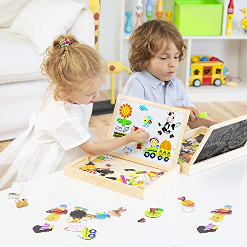 Lewo Wooden Magnetic Jigsaw Puzzles Educational Toys Art Easel Double Sided Drawing Board for Kids