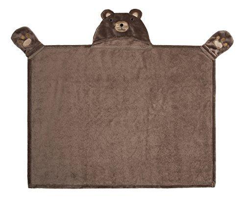 (Softan Kinder Kapuzendecke,Tier Bestickt Bär Flanell Badetuch,76x101cm)