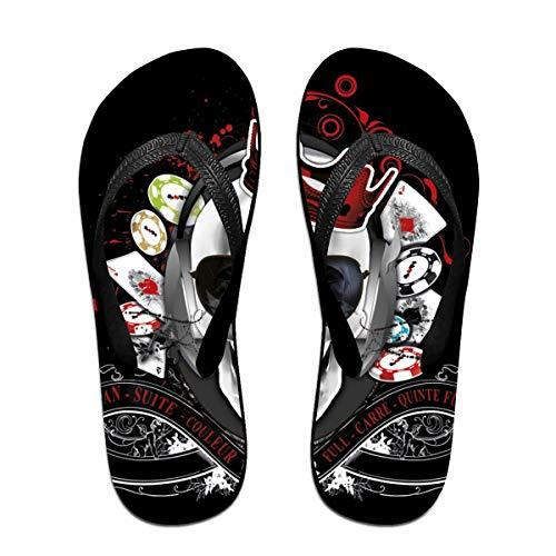 Skull Poker Unisex Adults Casual Flip-Flops Sandal Pool Party Slippers Bathroom Flats Open Toed Slide Shoes Medium -