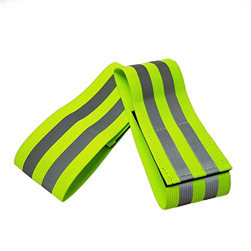 Hi Vis Reflective Running Armbands - High Visibility Elasticated Armbands / Ankle Bands with Velcro Closure, for Running, Walking, Cycling and Outdoor Safety. Ideal for Adults and Children (2)