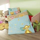 Winnie Pooh blau / gestreift Baby Bettwäsche Baumwolle- Linon Grösse 100/135