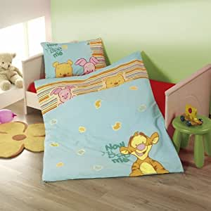 winnie pooh blau gestreift baby bettw sche baumwolle linon gr sse 100 135 k che. Black Bedroom Furniture Sets. Home Design Ideas