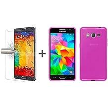 TBOC® Pack: Funda de Gel TPU Rosa + Protector Pantalla Vidrio Templado para Samsung Galaxy Grand Prime G530. Funda de Silicona Ultrafina y Flexible. Protector de pantalla Resistente a Golpes, Caídas y Arañazos.