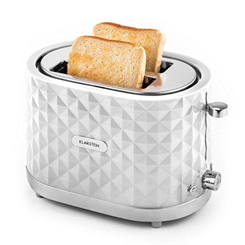 Klarstein Granada Bianca - Toaster, 2-Scheiben-Toaster, Doppelschlitz-Toaster, für 2 Scheiben, Auftau-Funktion, Brötchenaufsatz, Aufwärm-Funktion, Bräunungsgradeinstellung, 1000 W, weiß