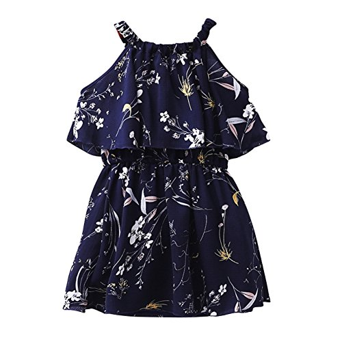 Hougood Girls Summer Dress Printed Princess Dress Off Shoulder Kids Dresses Casual Dress Age 3-13 Years Old
