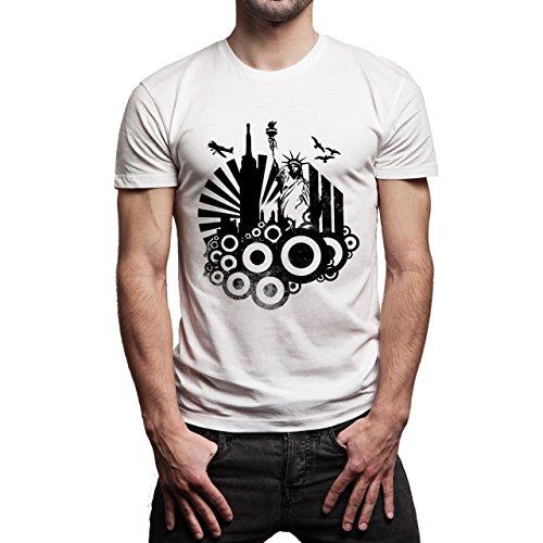 New York Logo Statue Of Liberty Skyscrapers Round Black White Background XXL Herren T-Shirt