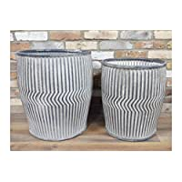 Annibells Large Round Vintage Galvanised Metal Barrel Planters Flower Pot Garden (X Large)