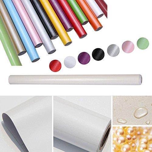 *HDM 5M * 61 CM (L*B) dicke PVC Weiß Klebefolie –Wasserabweisend selbstklebend DIY Dekofolie Möbel Renovierung Küchenschränke Möbelfolie Tapeten, Weiß mit glitzerpartikel auf Oberfläche*