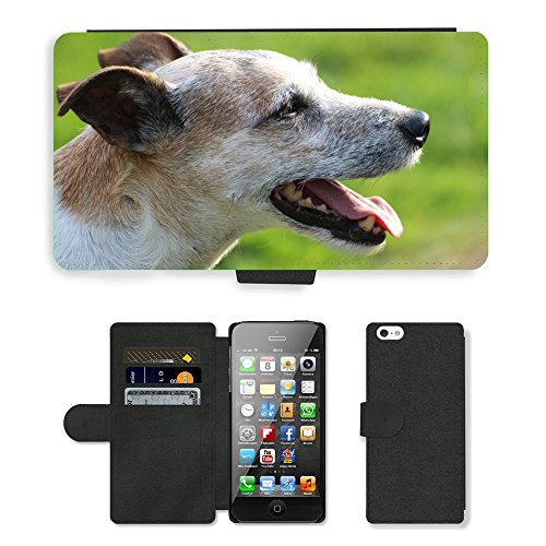 PU Flip Carcasa Funda de Cuero Piel Cubre Case // M00133651 Cane Capo Close Parson Russell Terrier // Apple iPhone 5 5S 5G