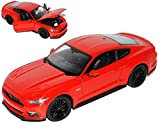 Welly Ford Mustang VI Coupe Rot Ab 2014 1/24 Modell Auto mit individiuellem Wunschkennzeichen