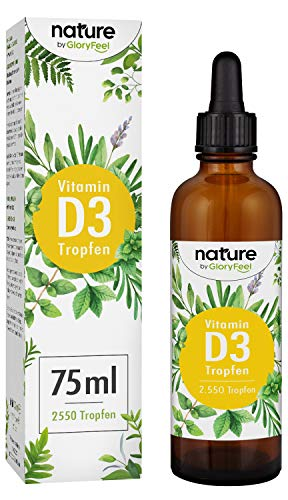 Vitamin D3 Tropfen Hochdosiert - 1000 I.E pro Tropfen - 75ml (2550 Tropfen) - Vergleichssieger 2019* - Flüssig in MCT Öl aus Kokos - Laborgeprüft hergestellt in Deutschland -