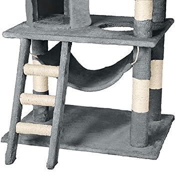 TecTake Arbre à chat griffoir grattoir geant | avec hamac et tunnel | hauteur 141 cm | diverses couleurs au choix (Gris | No. 402275)