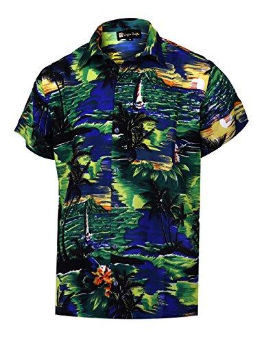 4d7d4f1f2a Virgin Crafts Men s Button Down Hawaiian Manga Corta pequeña Palm Print  Summer Vacation Shirt