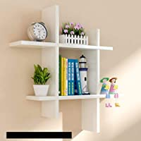 SAW SAQIB ALI WOODEN HANDICRAFTS Engineered Wood Glossy Wall Rack Shelves for Living and Bedroom Decoration (White…