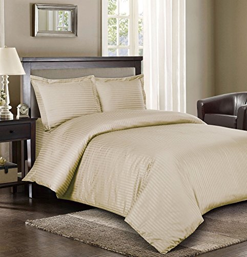Royal Hotel Gestreifte 300fach Count 3pc Duvet-Cover 100 Prozent Baumwolle, Satin Gestreiftes, 100% Cotton Beige Full/Königin -