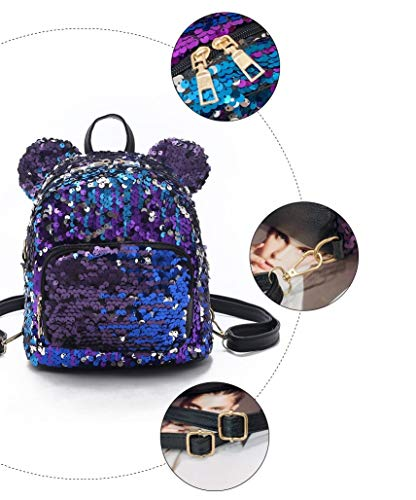 Best mini backpacks for girls in India 2020 MOCA Mini Small Backpack Daypack for Womens Girls Sequins Mini Small Travelling Outdoor Picnic School College Office Casual Daily use Daypack Backpack Rucksack Back Bag for Womens Girls Kids (Purple) Image 6