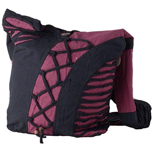 Vishes Alternative Bekleidung - Yogitasche aus Baumwolle mit Cutwork und Schnüren schwarz-rot