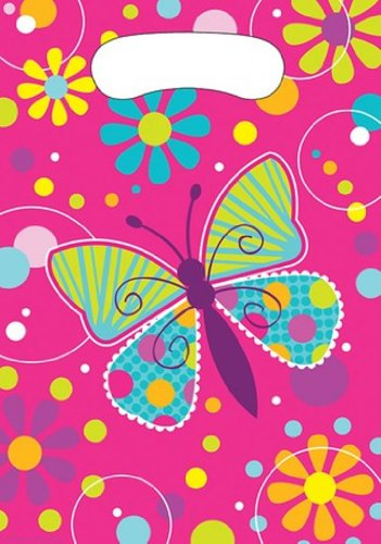 Creative Converting Schmetterling Sparkle Kunststoff Geschenktüten, 8Zählen