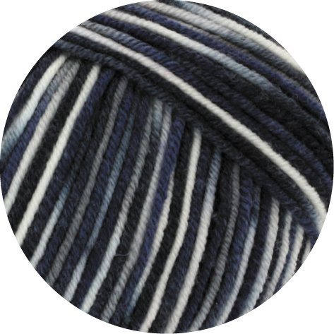 Lana Grossa Cool Wool 2000 Print 753 Natur/Grau/Hellgrau/Schwarz/Nachtblau
