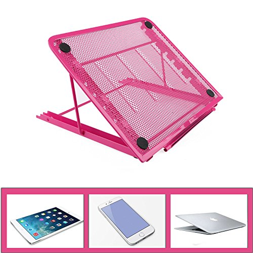 Supporto ventilato e regolabile per laptop, ventilato, regolabile, rete metallica supporto per notebook, 24x19CMInch per laptop, notebook, iPad Mini, iPhone, Tablets, Novata Rosa