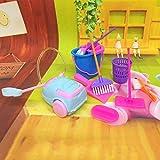 MAJGLGE 9pcs Outil de Nettoyage Balai Jouet Pretend Play Meubles Mini Housekeeping Brosse–Couleur aléatoire