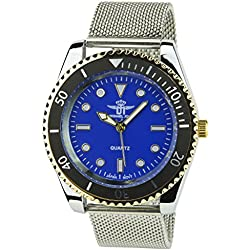 MICHAEL JOHN -Men's Watch Silver Quartz Blue gold case Steel Analogue Display Band Steel