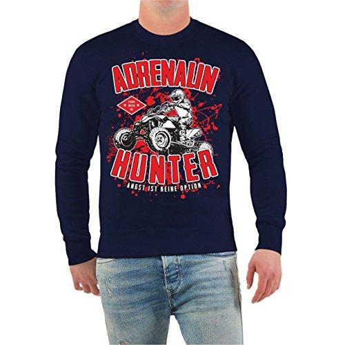 Männer und Herren Pullover Adrenalin Hunter - Angst ist keine Option Größe S - 10XL Dunkelblau