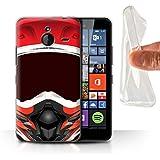Coque Gel TPU de STUFF4 / Coque pour Microsoft Lumia 640 XL / Motocross/Rouge Design / Casque Moto Collection