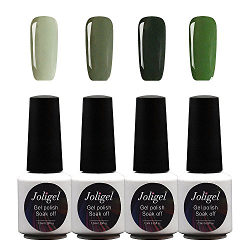 JOLIGEL Nagel Gels Lacke UV LED Nagellack Set 4pcs 7,3 ML Soak Off Semi-Permanent für Maniküre, 4 Pastellfarben Geeignet für Formelle / Gelegenheitsanlässe, Ungiftig Naturharz, 05 (Klassische elegante grüne Serie)