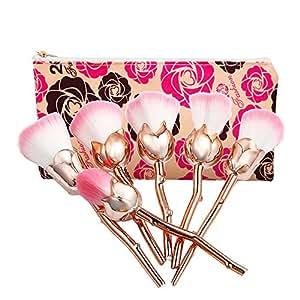NEEDOON 6 Pièces Pinceaux Maquillage + Sac, Rose Makeup Brushes Maquillage Brosse Ensemble Synthétique Kabuki Fondation Fard à joues Traceur pour les yeux Visage Poudre Maquillage Brosse Kit Beauté Produit de beauté Outils (A)
