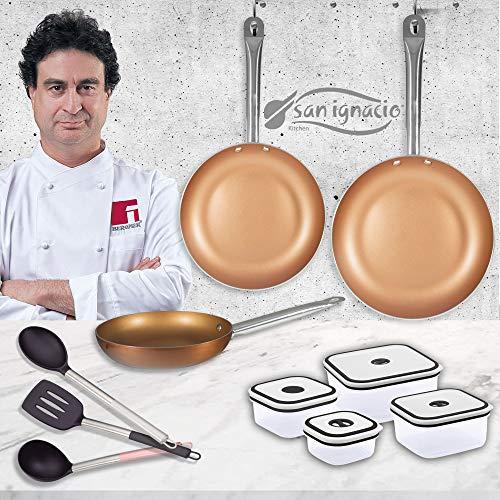 San Ignacio PK1449 SIP Set 3 sartenes Aluminio prensado 4 Cuchillos