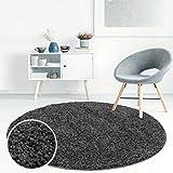 carpet city Teppich Hochflor Shaggy Einfarbig Wohnzimmer-Schlafzimmer Dunkelgrau Grau Rund Und Rechteckig Öko Tex 100%, Größe in cm:200 x 200 cm rund