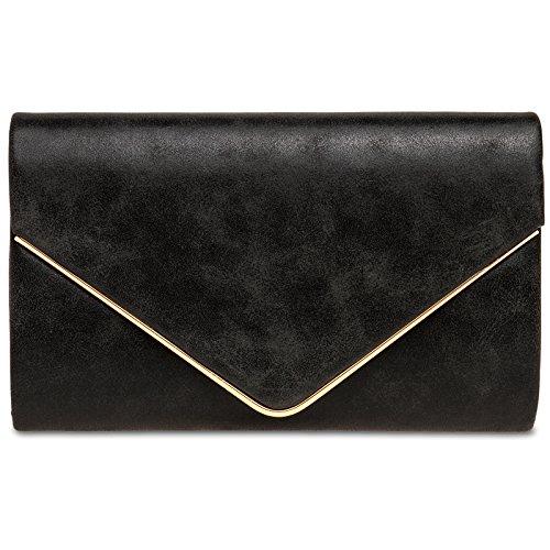 CASPAR TA349 Damen elegante Envelope Clutch Tasche / Abendtasche mit langer Kette, Farbe:schwarz;Größe:One Size
