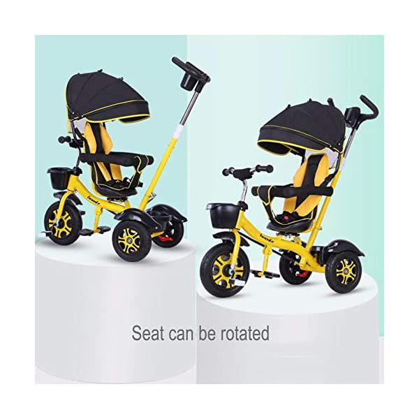 GSDZSY - Children Tricycle 3 IN 1 With Comfortable Seat And Detachable Push Rod, Rotating Seat And Adjustable Awning, 1-6 Years Old GSDZSY ❀ MATERIAL : High carbon steel + ABS + rubber wheel, suitable for children from 1 month to 6 years old, maximum load 30 kg ❀ FEATURES : The push rod can be adjusted in height, the seat can be rotated 360 ; the adjustable umbrella can be used for different weather conditions ❀ PERFORMANCE : high carbon steel frame, strong and strong bearing capacity; non-inflatable rubber wheel, suitable for all kinds of road conditions, good shock absorption, seat with breathable fabric, baby ride more comfortable 2