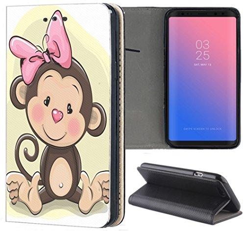 Samsung Galaxy S3 / S3 Neo Hülle Premium Smart Einseitig Flipcover Hülle Samsung S3 Neo Flip Case Handyhülle Samsung S3 Motiv (1256 Affe Cartoon Braun) Logo Samsung S3 Case