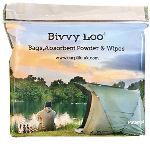 Bivvy Loo Portable Toilet 50 Additional Biodegradable Wipes, 12 Pack - Camping Toilet Waste Bag Bin Liner Biodegradable Liner Bags and Waste 12 Bags Power (Turn Liquid Gel)