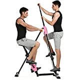 Ancheer 2 in1 Folding Mountains Climber,Total Workout Vertical Stepper Climber & X-Bike Exercise Bike for Home Body Trainer Fitness Machine with LED Monitor (Joint-Friendly Training, Unisex, Adjustable Height, Easy to Store, Plus 3 Year Extended Warranty)