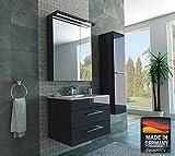 MISPA© Badezimmer Badmöbel-Komplett-Set inklusive Hochschrank, Anthrazit/Hochglanz - 75cm, LED-Beleuchtung, Softclose-Technologie, Waschbecken, Unterschrank, Spiegelschrank, Made in Germany