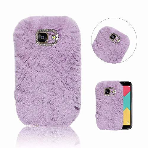 Galaxy A3 2016 Hülle, QianYang Plüsch Wolle Diamant Bling Handmade Schutzhülle für Samsung Galaxy A3 2016 A310 Handyhülle Fluffy Pom Pom Kratzfeste Tasche Schale - Lila