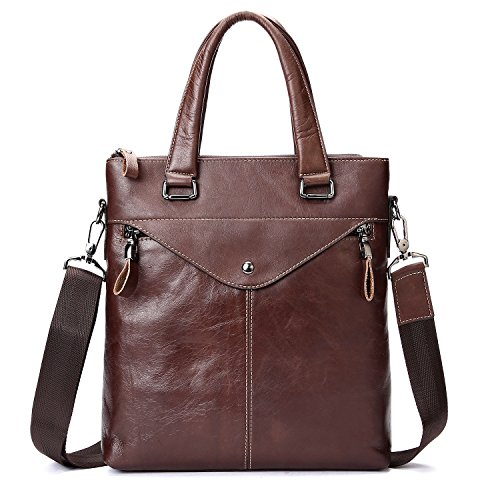 Mens Modern & Simple Top-Handle Leather Bags Understated Elegance Shoulder Bag Leisure and Business Style Office Workers or Travel Men Briefcase Messenger Bag Brown