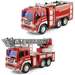 GizmoVine Jouets pour 2 Ans 3 Ans Garçons, 2PCS Éducation précoce Voiture Jouet Camion de Pompier Firetruck pourTout-Petits & Enfants Noël Anniversaire Cadeaux