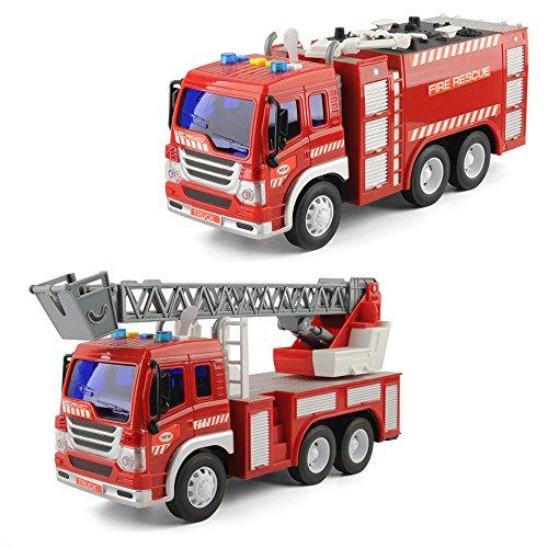 GizmoVine Spielzeug für 2 Jahre Alten Jungen Feuerwehrauto Mit Lichtern und Tönen, Früh Bildung Auto Spielzeug Trägheit Fahrzeuge Für Kinder und Kleinkinder (Rot) (Jungen Spielzeug Alter 2)