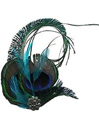 Jelinda Tocado de Mujer con Plumas de Pavo Real