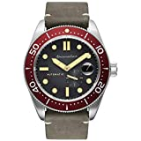 SPINNAKER Men's Croft 43mm Grey Leather Band Steel Case Automatic Black Dial Analog Watch SP-5058-05