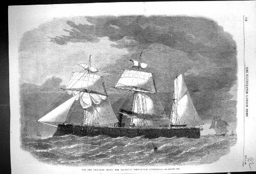 1864 Eisengepanzerte Flotte Versendet Unternehmens-Antiken-Druck der Schaluppe-Von-Krieg der...