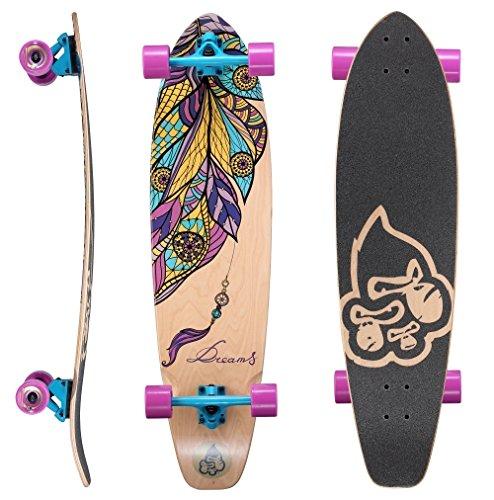 STAR-SKATEBOARDS® Premium Canadian Maple Top Mount Komplett Pro Longboard Skateboard für Kinder und Erwachsene auch Anfänger ab ca. 8 - 10 Jahre ★ 65mm Flex Carving/Cruiser Edition ★ Dream Catcher Design